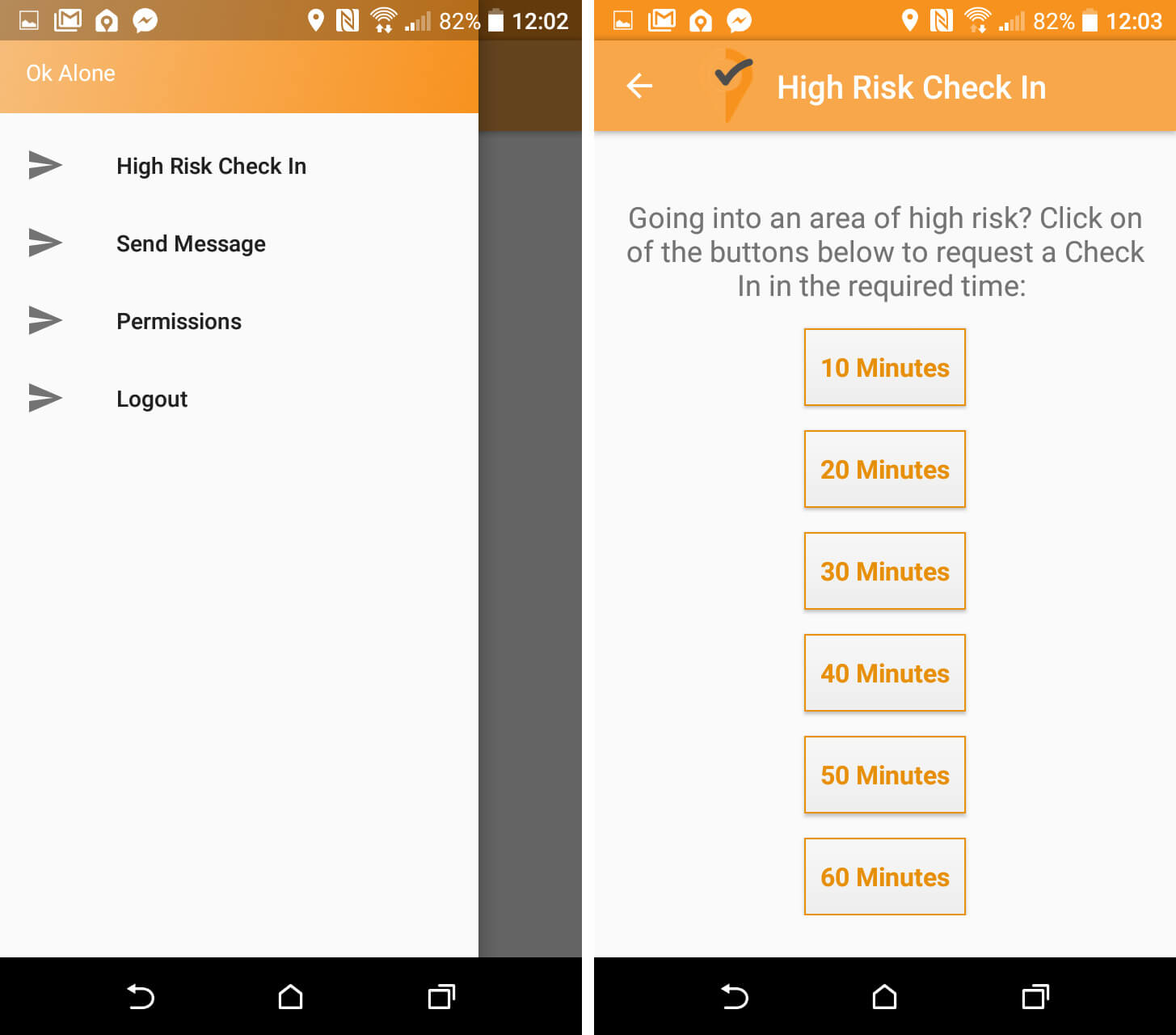 High Risk Check-in from OK Alone lone worker monitoring