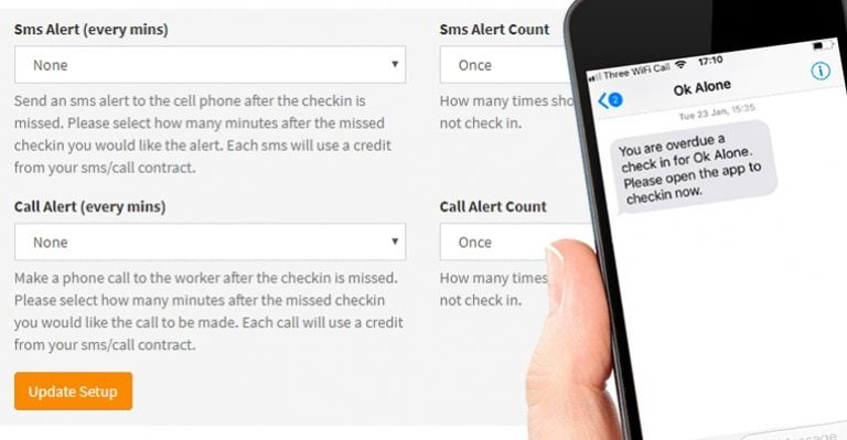 Sms and phone alerts fro Ok Alone lone worker monitoring