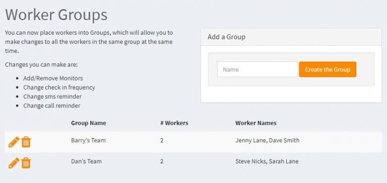 Worker Groups with Ok Alone lone worker monitoring