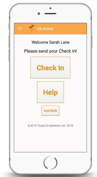 Did you happen to miss a check-in? The app sounds an alarm to give you the oppurtunity to confirm you are safe, prior to alerting your monitors or live monitoring for help.