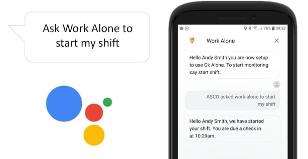 Set your worker ID and start a shift when lone working with the Google Assistant and Ok Alone