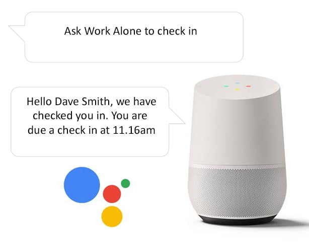 Check in when lone working with the Google Home smart speaker and Ok Alone