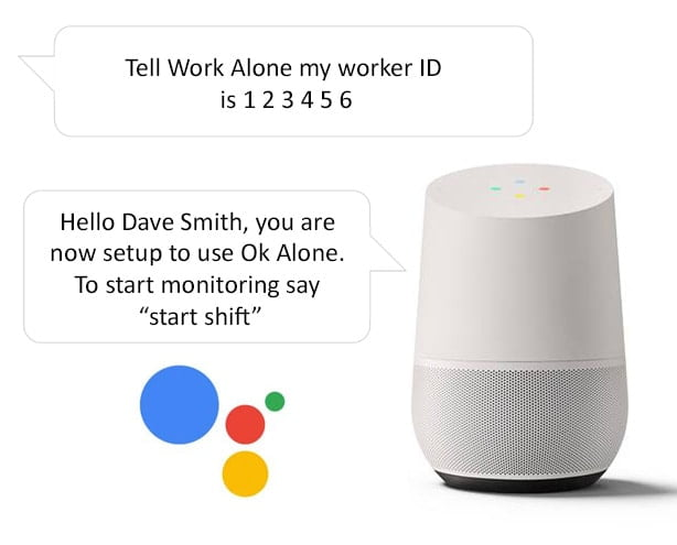 Set your worker ID for lone working with the Google Home smart speaker and Ok Alone