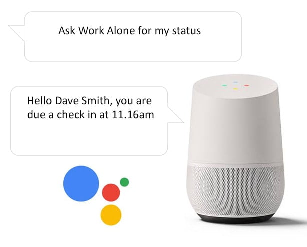 Get current status when lone working with the Google Home smart speaker and Ok Alone