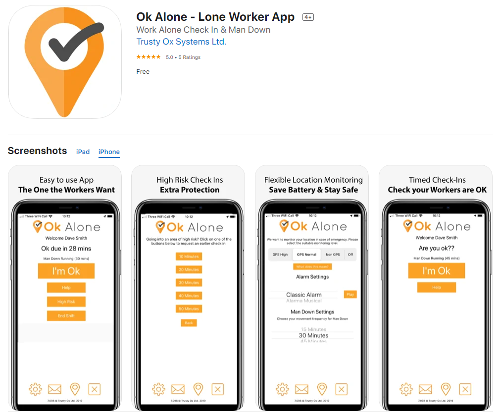 Lone worker app on the Apple App Store for iPhone