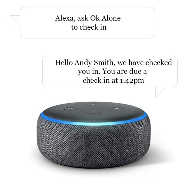 How to check in as a lone worker with Alexa and Ok Alone
