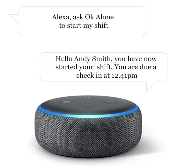 How to start your lone worker shift with Alexa and Ok Alone