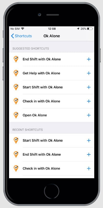 Ok Alone lone worker shortcuts for Siri on iPhone