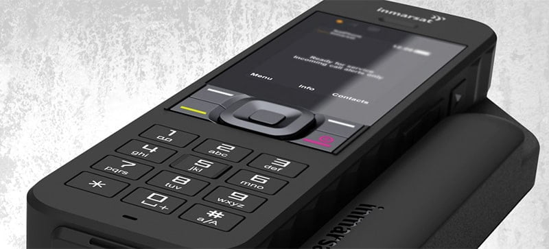 The Inmarsat IsatPhone 2 Satellite Phone works with Ok Alone for your lone workers