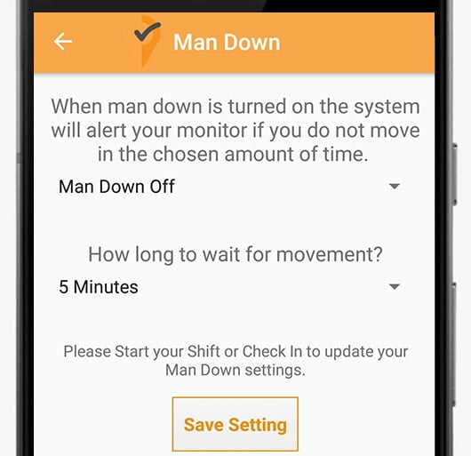 Man down settings for android