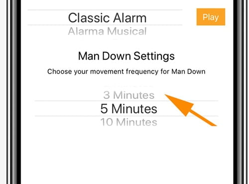 man down settings on an iphone