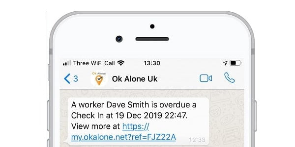 Monitors can get lone worker alerts in WhatsApp