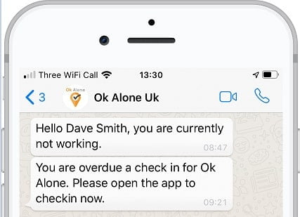 Workers can get a status notification using WhatsApp
