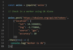 Lone worker api integration with node js