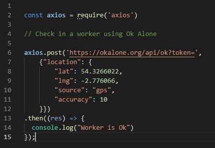 Lone worker api integration with node js