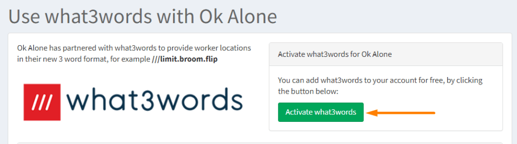 Activate what3words for lone workers in Ok Alone