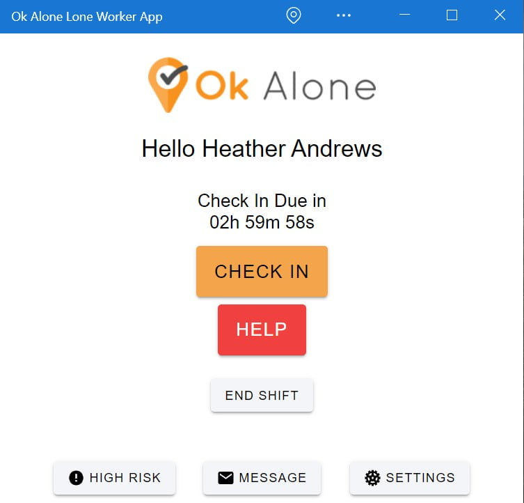 Microsoft lone worker app for Windows from Ok Alone